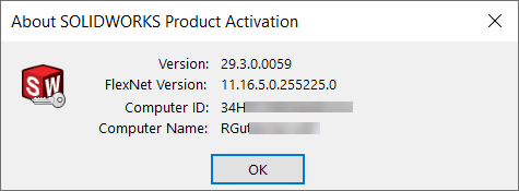 About SOLIDWORKS Product Activation Computer ID Dialog Box
