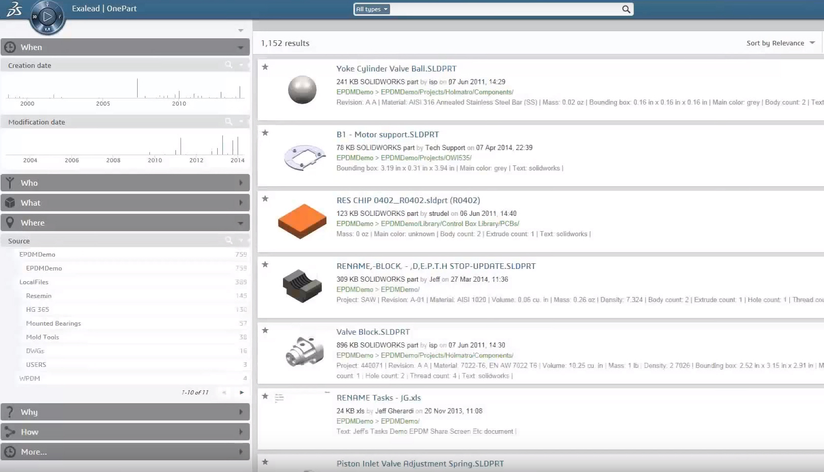 Find and Reuse Existing Parts, 2D/3D Designs and Related Documentation with EXALEAD OnePart