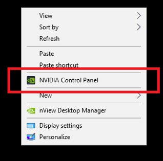 Accessing the NVIDIA Control Panel