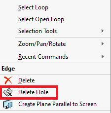 Accessing the SOLIDWORKS Delete Hole Feature