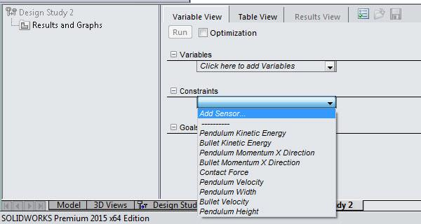 Add Sensor Variable View SOLIDWORKS Design Study
