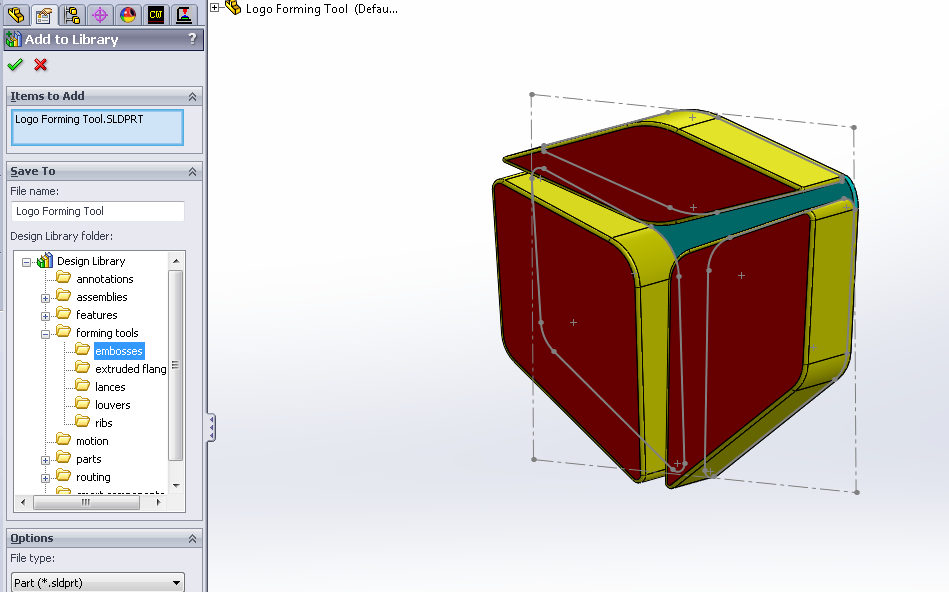 Add to Library PropertyManager in SOLIDWORKS