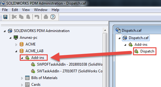 Adding Dispatch add-in to add-in node SOLIDWORKS PDM
