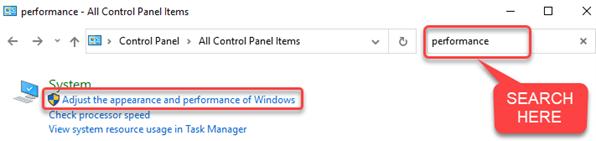 Adjust Appearances and Performance of Windows