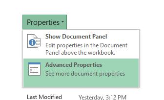 Advanced Properties in Microsoft Excel