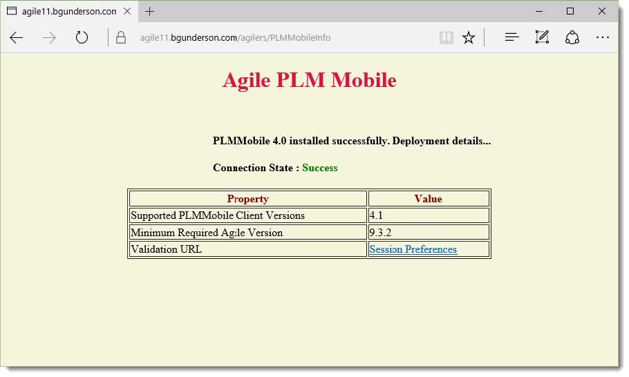 Agile PLM Mobile Installation Verification Screen
