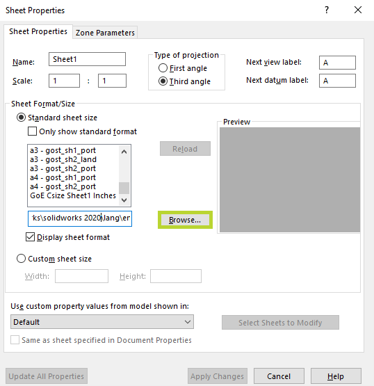 Browse SOLIDWORKS Sheet Properties