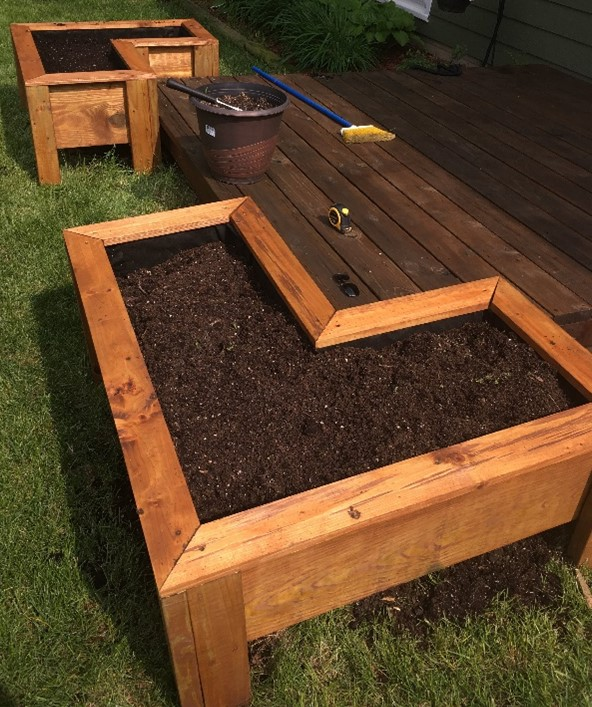 Built Deck with Raised Flower Bed Designed in SOLIDWORKS