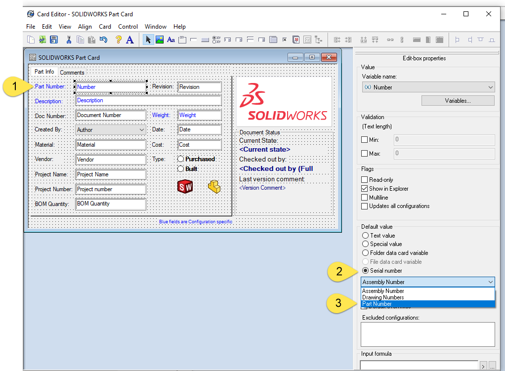 card editor solidworks part card
