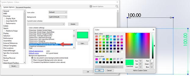 Change Sketch Colors in SOLIDWORKS Parts