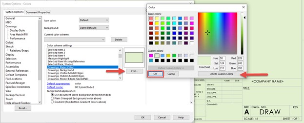 Changing Paper Color in SOLIDWORKS