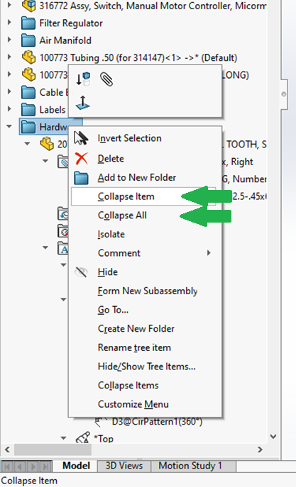 Collapse All SOLIDWORKS FeatureManager