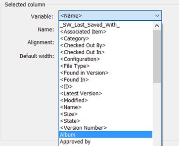 Column Select SOLIDWORKS PDM