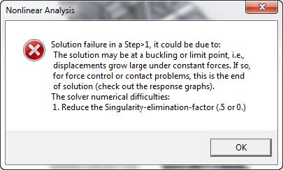 Common Nonlinear Error when Avoiding Singularities in SOLIDWORKS Simulation
