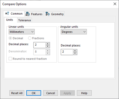 Compare Options in SOLIDWORKS Utilities