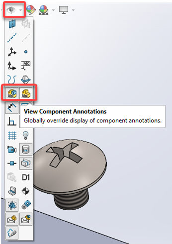Component Annotation SOLIDWORK Heads-up Display