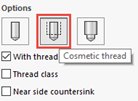 cosmetic thread icon in solidworks