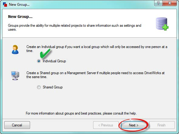 Create New Individual Group in DriveWorks