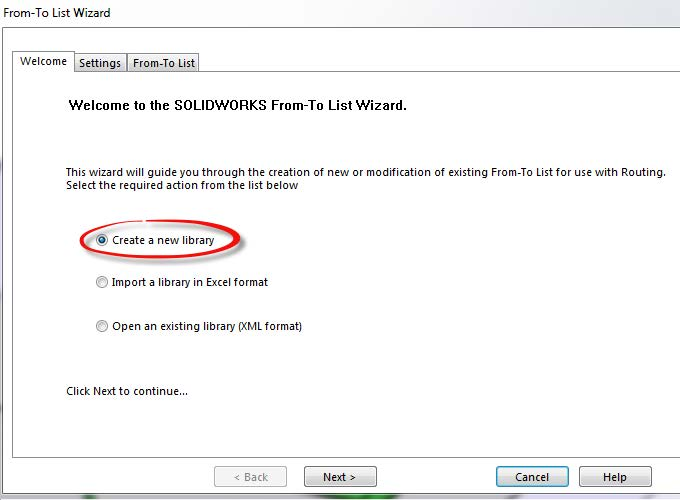 Create New Library SOLIDWORKS From-To List