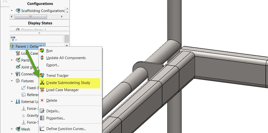 Create SOLIDWORKS Simulation Submodeling Study