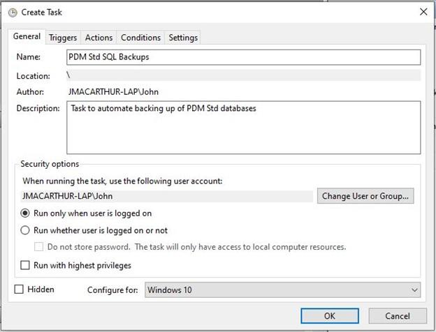 Create Task PDM SQL Backup