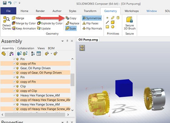 Creating a Mirrored Part with Symmetrize in SOLIDWORKS Composer