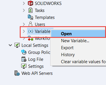 Creating Variables and Controls in the Data Card in SOLIDWORKS