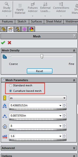 Curvature-Based Mesh in SOLIDWORKS Simulation
