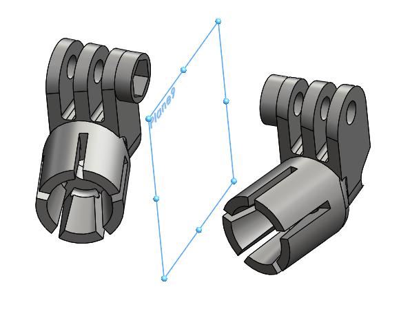 Custom GoPro mount designed in SOLIDWORKS