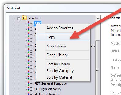 Create a New Material in SOLIDWORKS