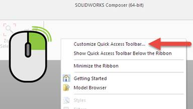 Customize quick access toolbar SOLIDWORKS Composer
