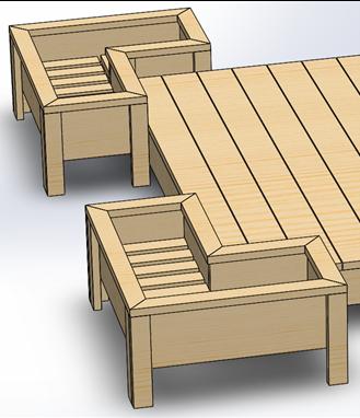 SOLIDWORKS CAD Deck with Raised Flower Bed Design