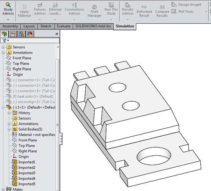 Deformed Body as Multi-Body Part in SOLIDWORKS Simulation