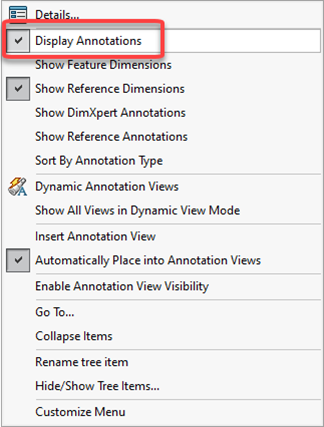 Display Annotations in SOLIDWORKS