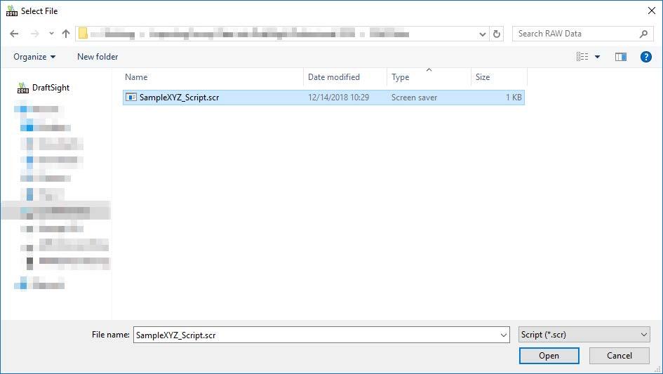 DraftSight Open Script File