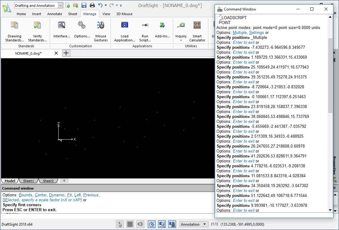 DraftSight Ran Script Results