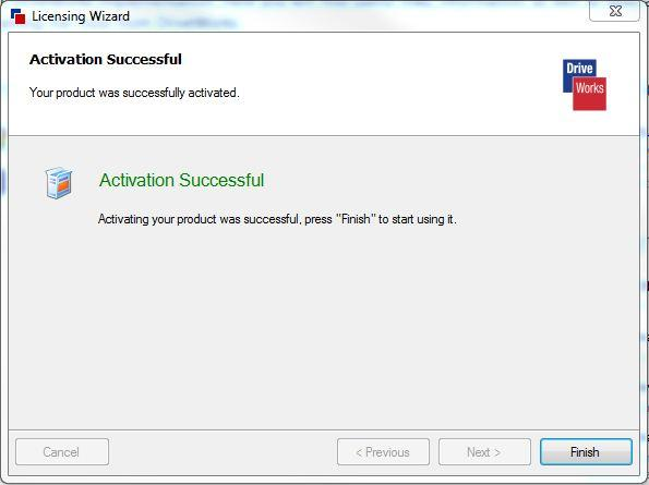DriveWorks Activation Successful Screen