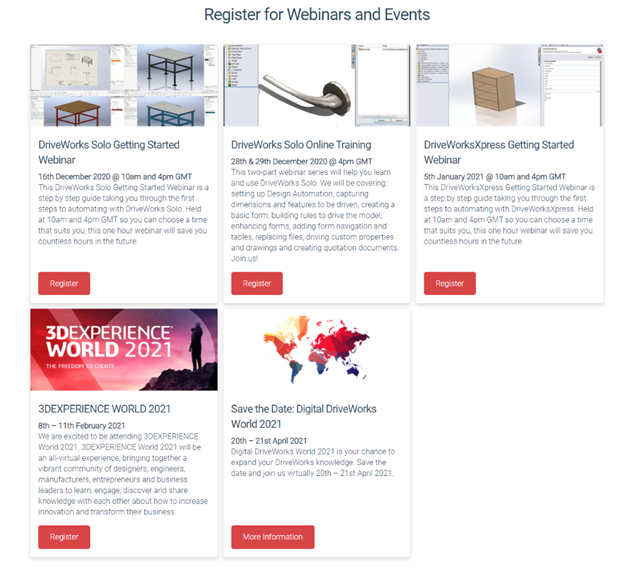 DriveWorks Events and Webinars