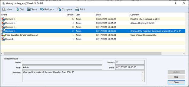 Edit Comment As Admin User in SOLIDWORKS PDM