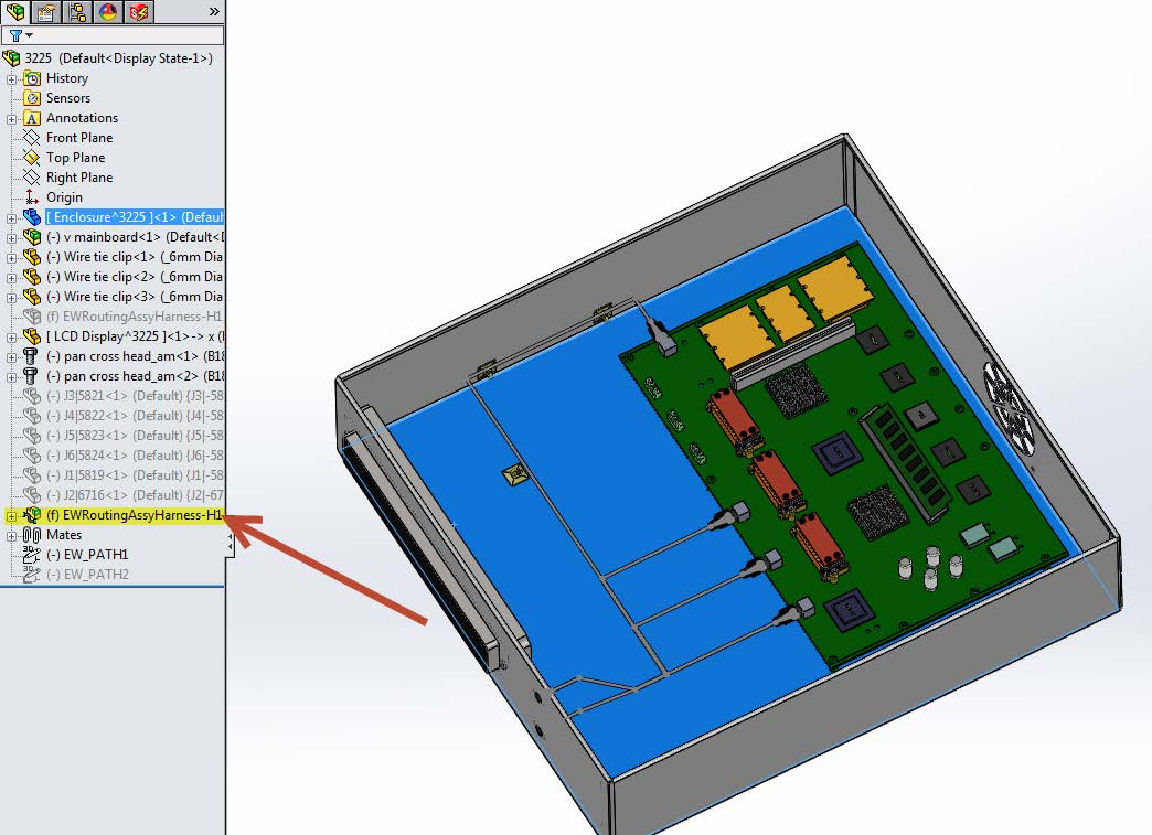 Edit Flattened Harness Routes in SOLIDWORKS Electrical 3D