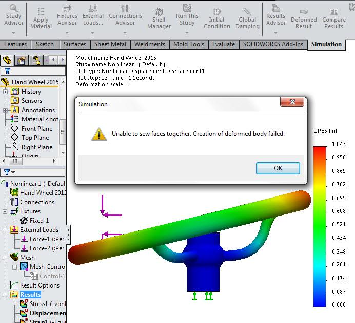 Unable to Sew Faces Together SOLIDWORKS Simulation Error