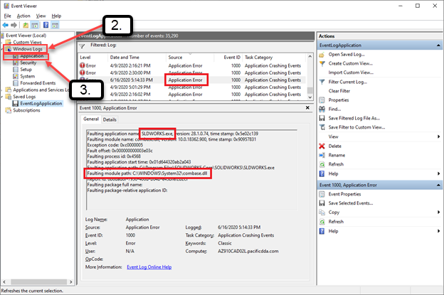 Event Viewer Troubleshoot SOLIDWORKS Crash