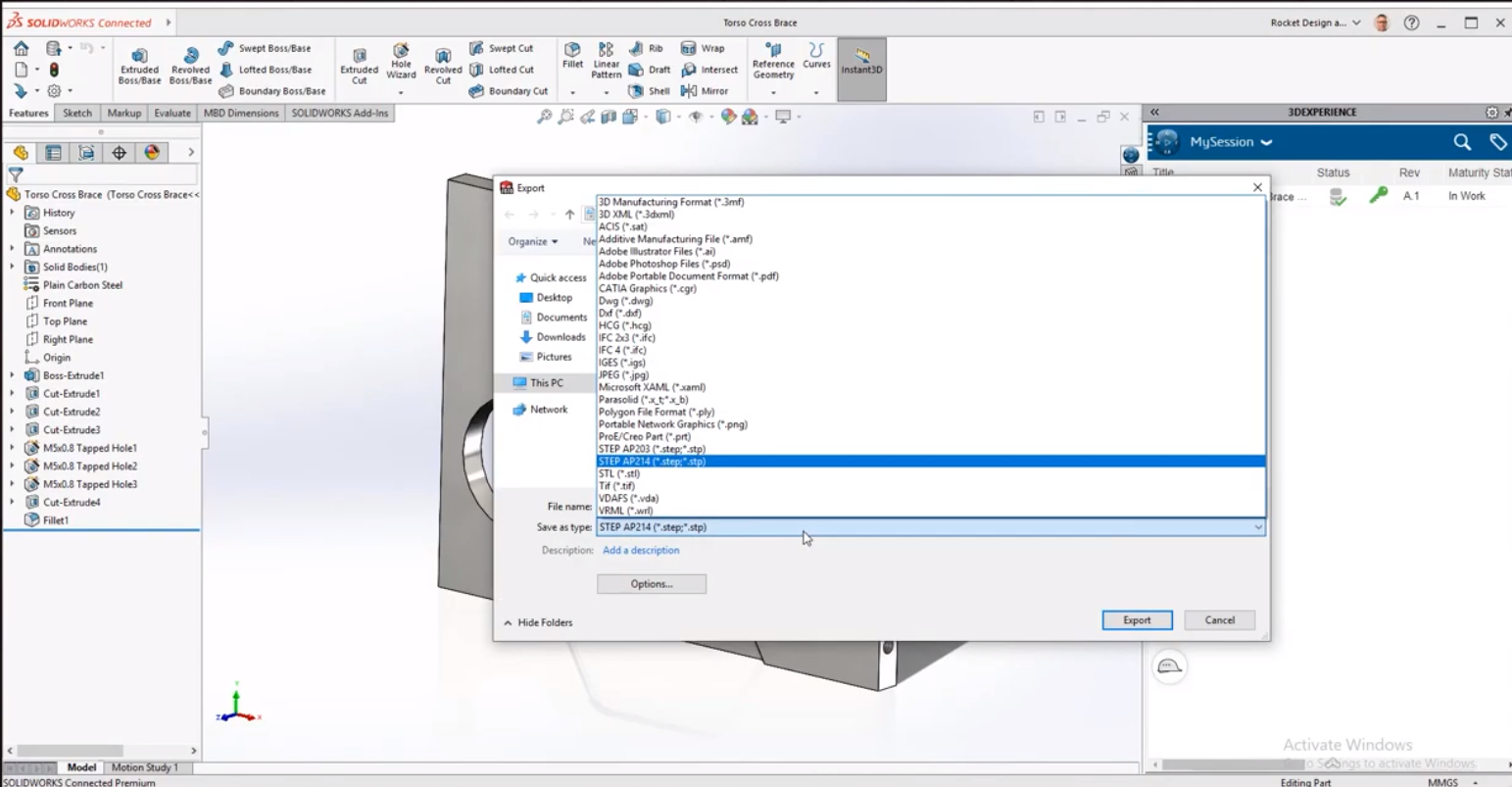 Export Files to SOLIDWORKS Connected and 3DEXPERIENCE