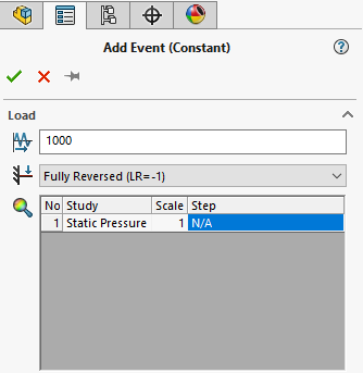 Adding events in a SOLIDWORKS simulation fatigue analysis