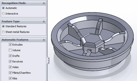 SOLIDWORKS FeatureWorks Automatic Recognition Settings