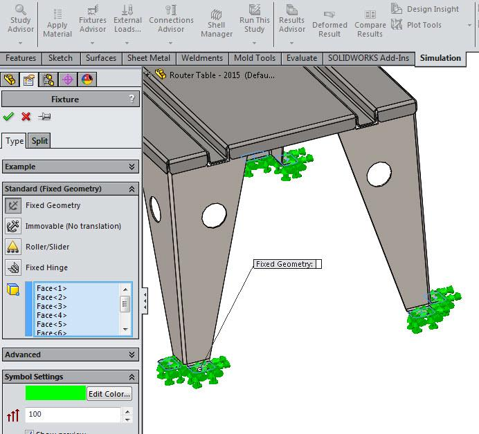 Fixed Geometry in SOLIDWORKS Simulation