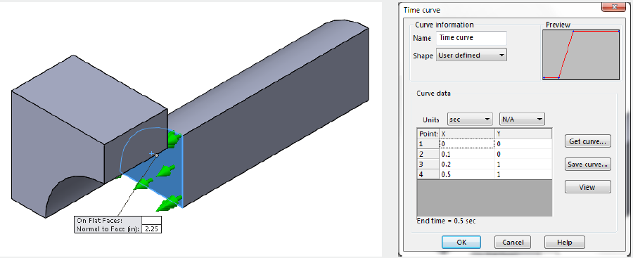 Flat Faces Time Curve in SOLIDWORKS Simulation