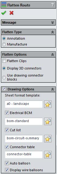 Annotation and Manufacture Flatten Route Options in SOLIDWORKS Electrical 3D