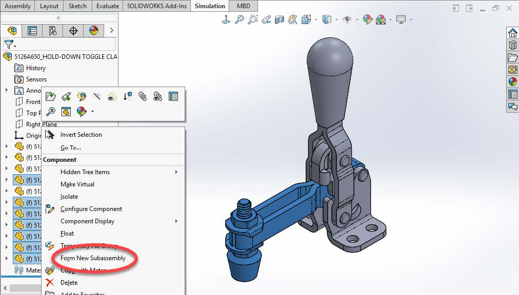 Form New Sub Assembly SOLIDWORKS