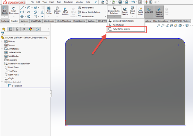 Fully Define a Sketch in SOLIDWORKS for External References